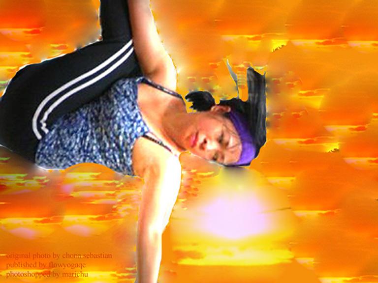 Original photo by Chona Sebastian published in flow yoga qc, teacher Joji Balcita, workshop by Jon Cagas, photoshopped by blog admin (lighting, eraser, and inverted)